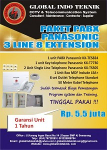 paket pabx panasonic 3 line 8 extension